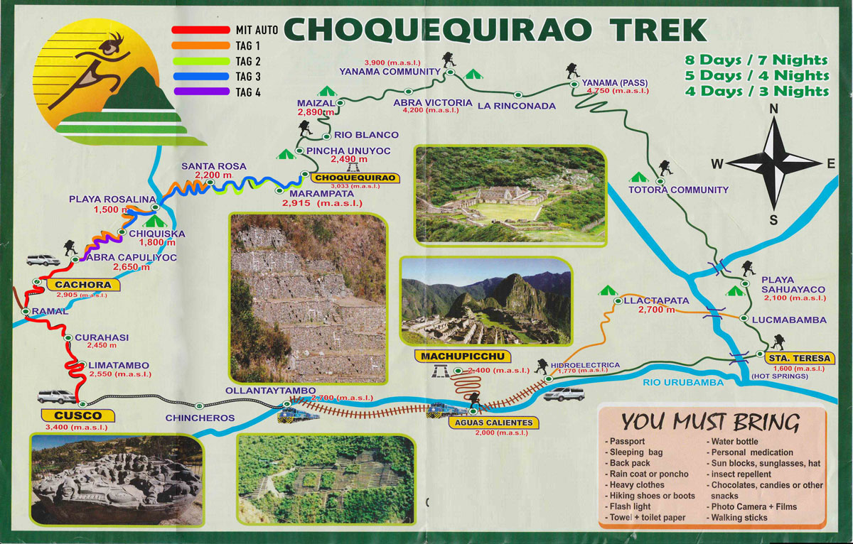 Choquequirao Trek Karte