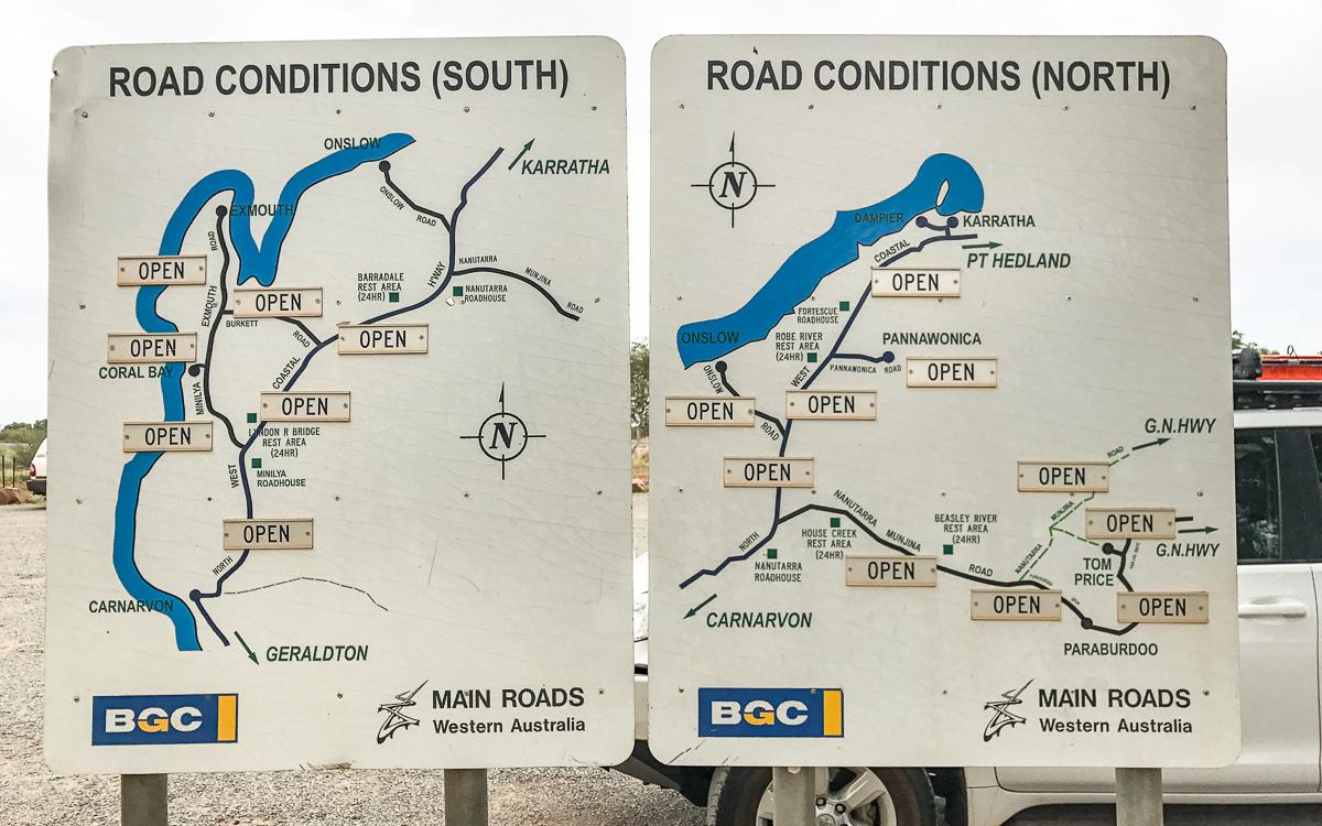 Straßenverhältnisse in Australien Schilder