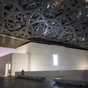 Louvre Abu Dhabi Sonne geht unter