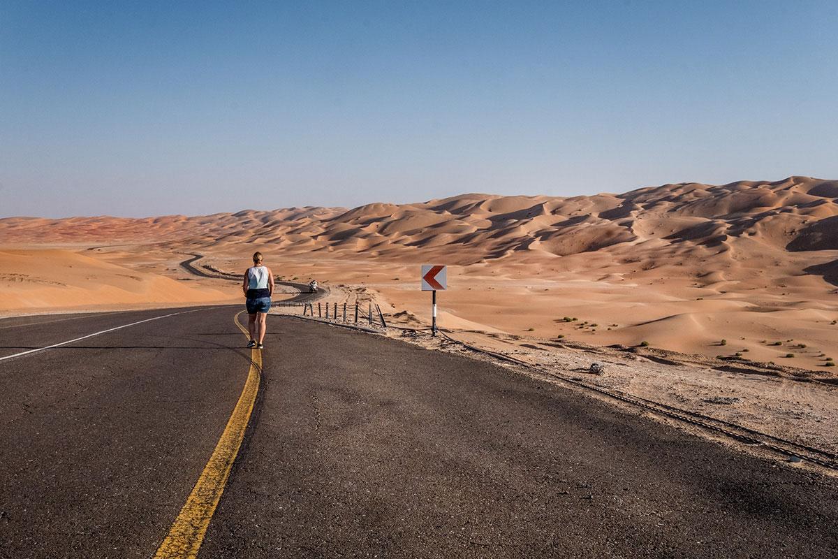 Weg zur Moreeb Dune Abu Dhabi