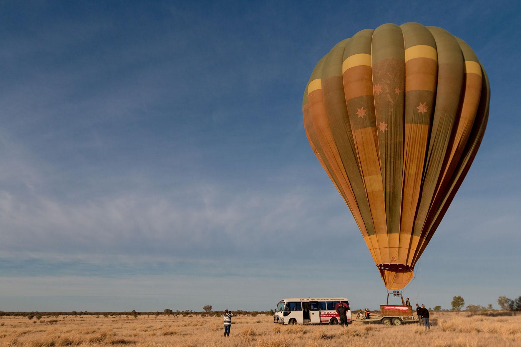 Landung Heißluftballoon Alice Springs