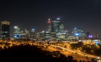 Perth Aussicht vom Kings Park by night