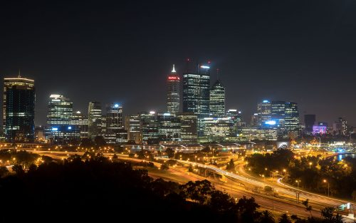 Perth Aussicht vom Kings Park by night