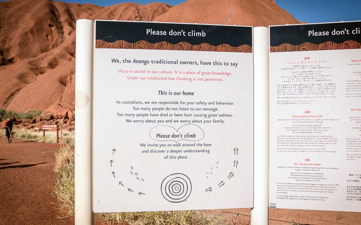 Uluru Don't climb Sign