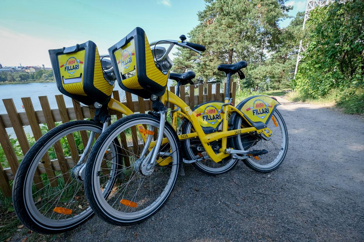 Helsinki gelbe Fahrräder leihen