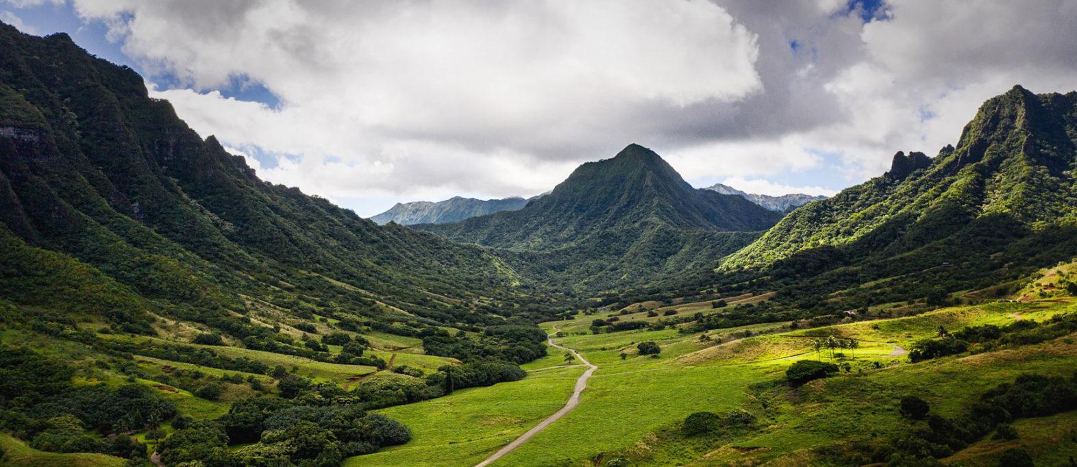 Kualoa Valley in Oahu, Hawaii.