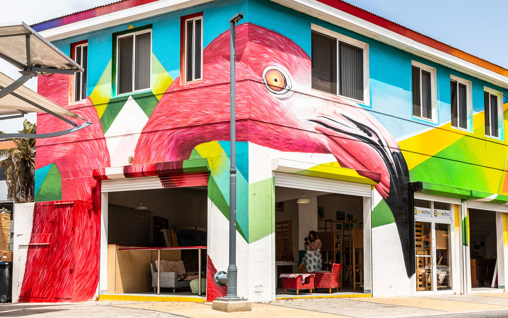 Street Art in St. Nicolas, Aruba. Flamingos