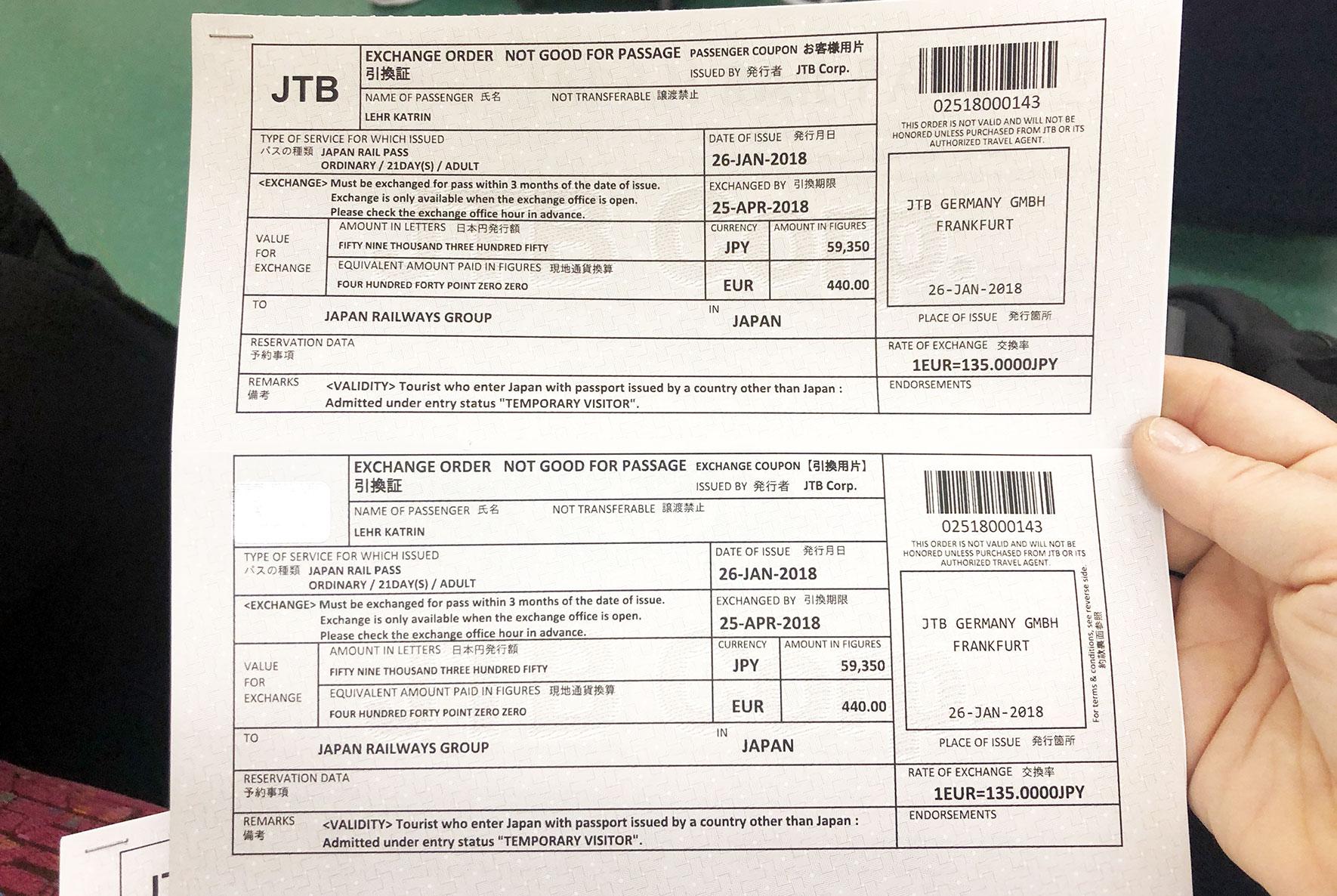 Japan Rail Pass Gutschein zum einlösen