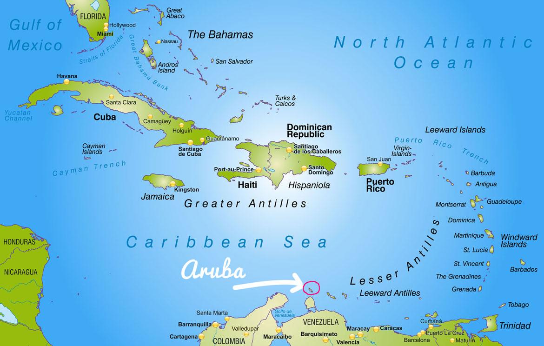 Karte Aruba und Karibik