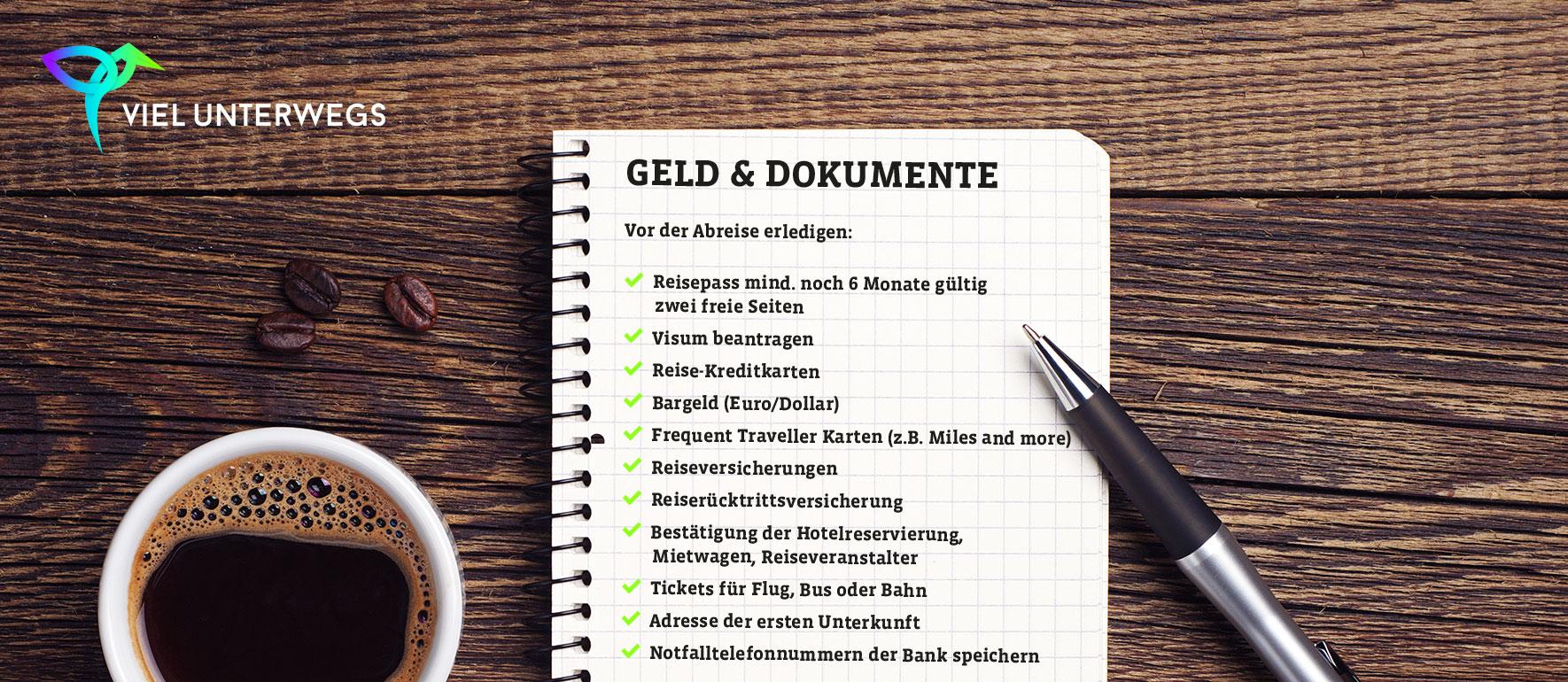 Packliste für den Urlaub zum Ausdrucken und Abhaken als PDF