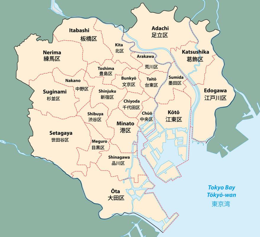 Bezirke Tokio Übersicht Karte
