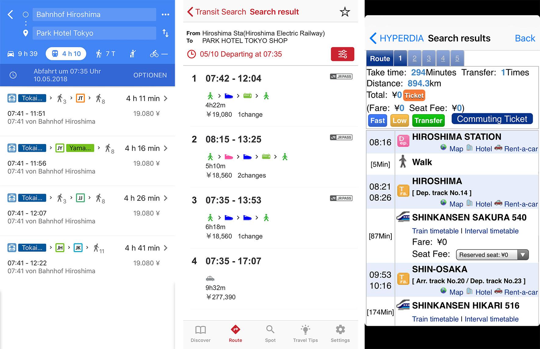 Apps mit Zugfahrplänen für Japan