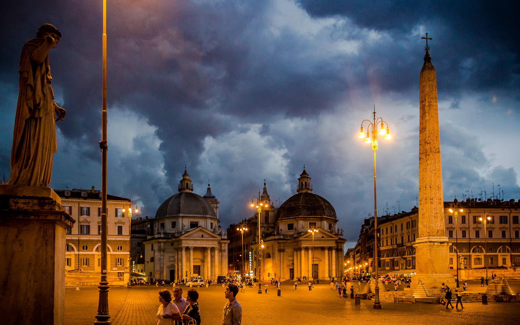 Nachtaufnahme Piazza del Popolo Rom