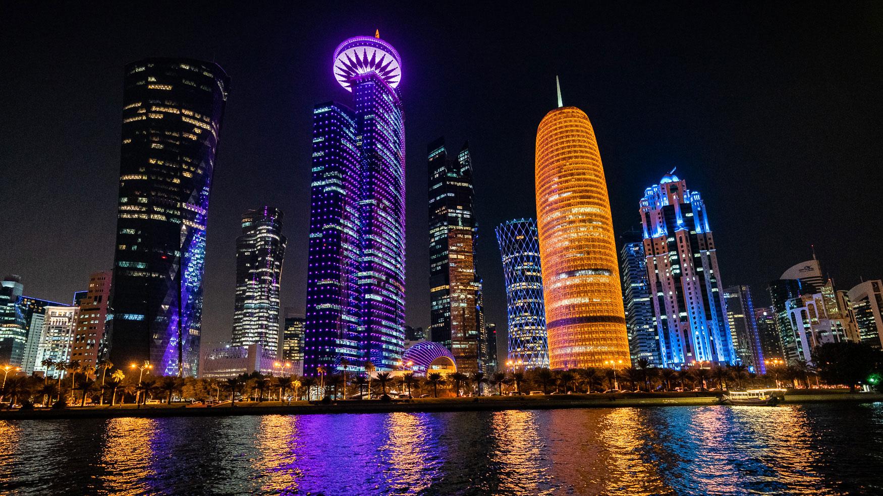 Qatar Tipp Dhau Fahrt Blick auf Westbay Skyline