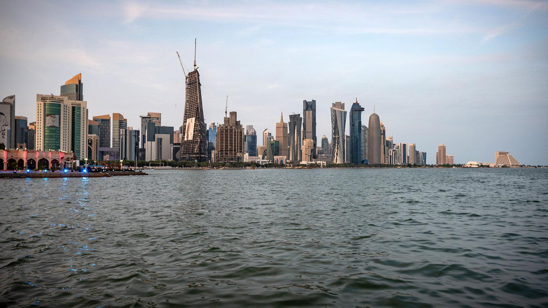 Ausblick Dhau auf Al Mourjan und Skyline Doha