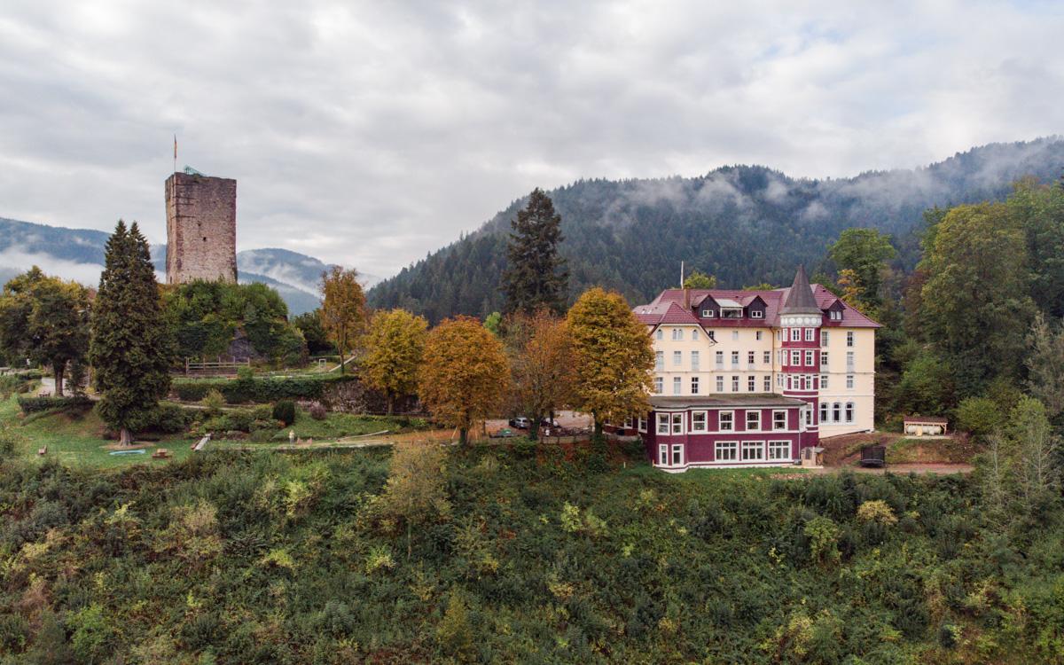 Blick auf Schloss Hornberg und Burgruine