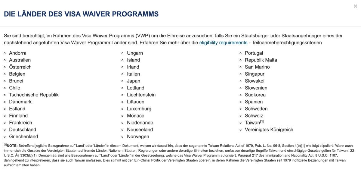 Länder des Visa Waiver Programms der USA