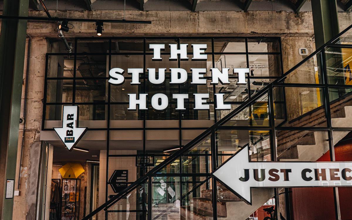 Lobby im Student Hotel in Maastricht.