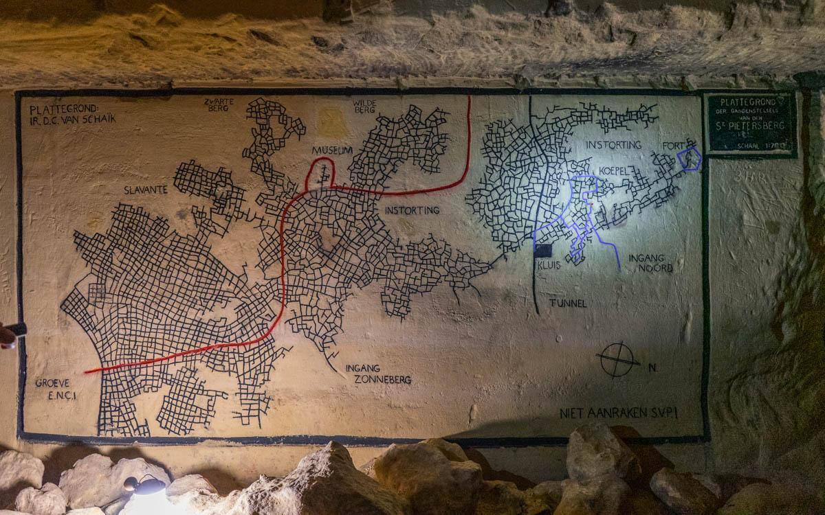 Karte der Grotten in Maastricht