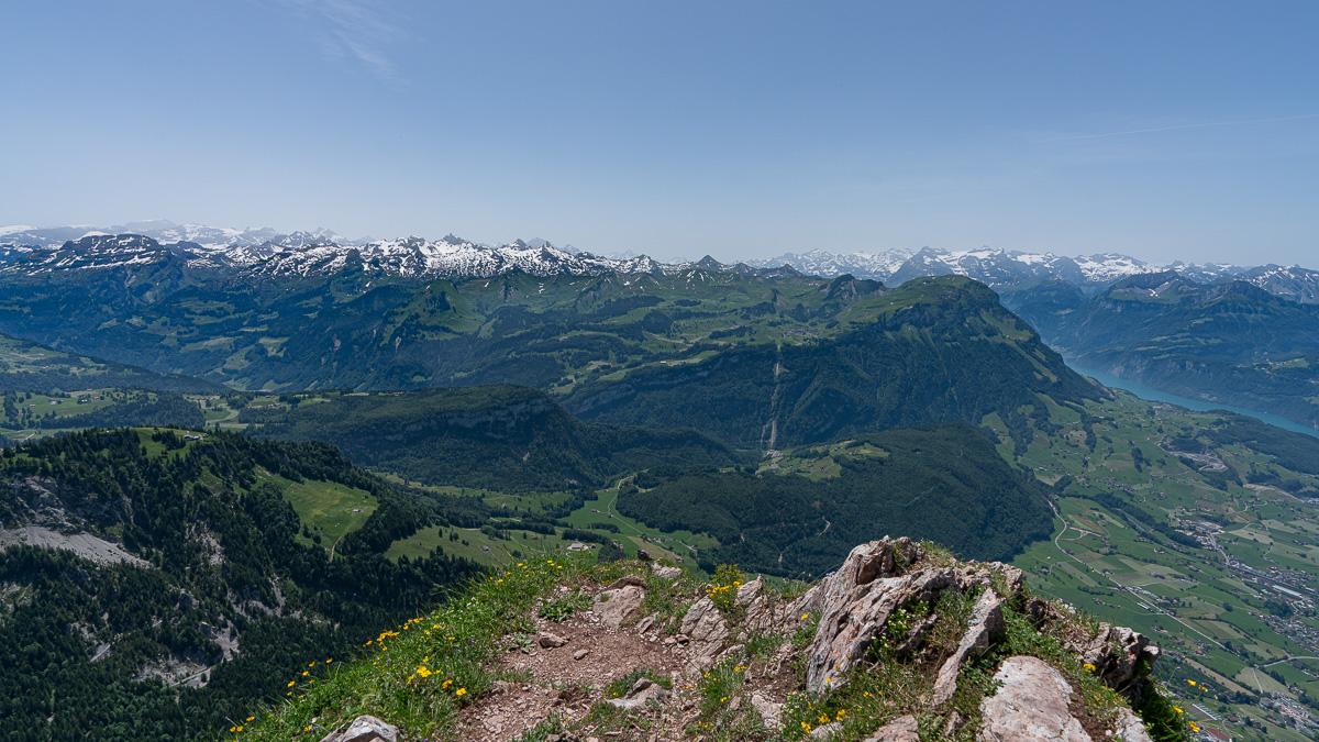 Ausblick auf die Alpen vom Großen Mythen.