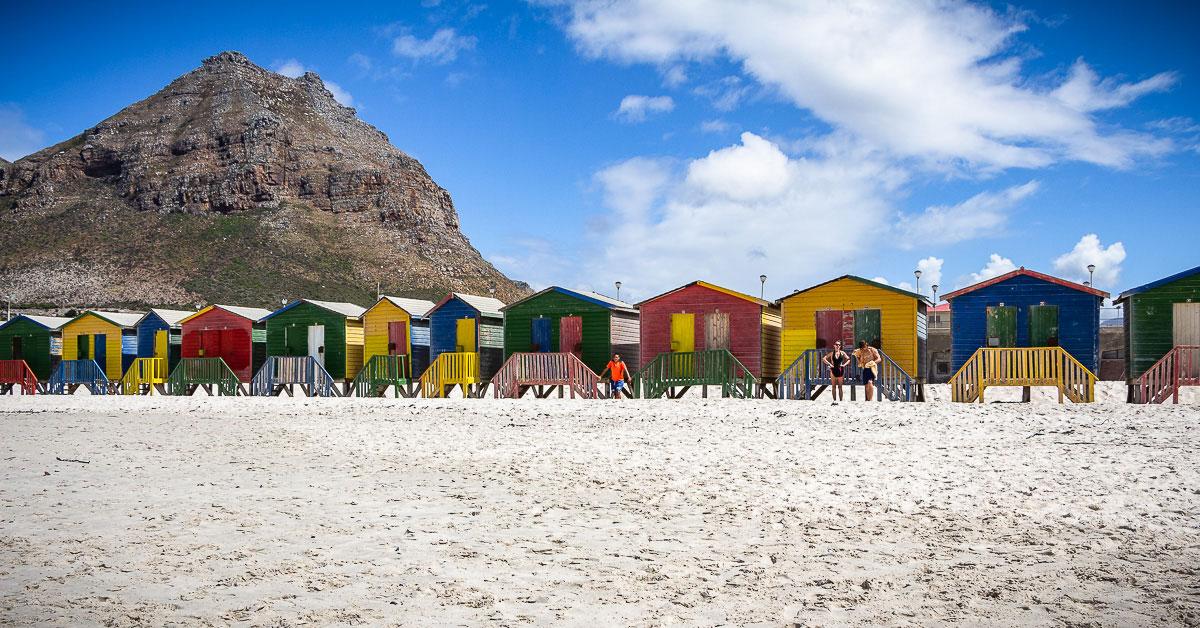 Bunte Strandhütten von Muizenberg