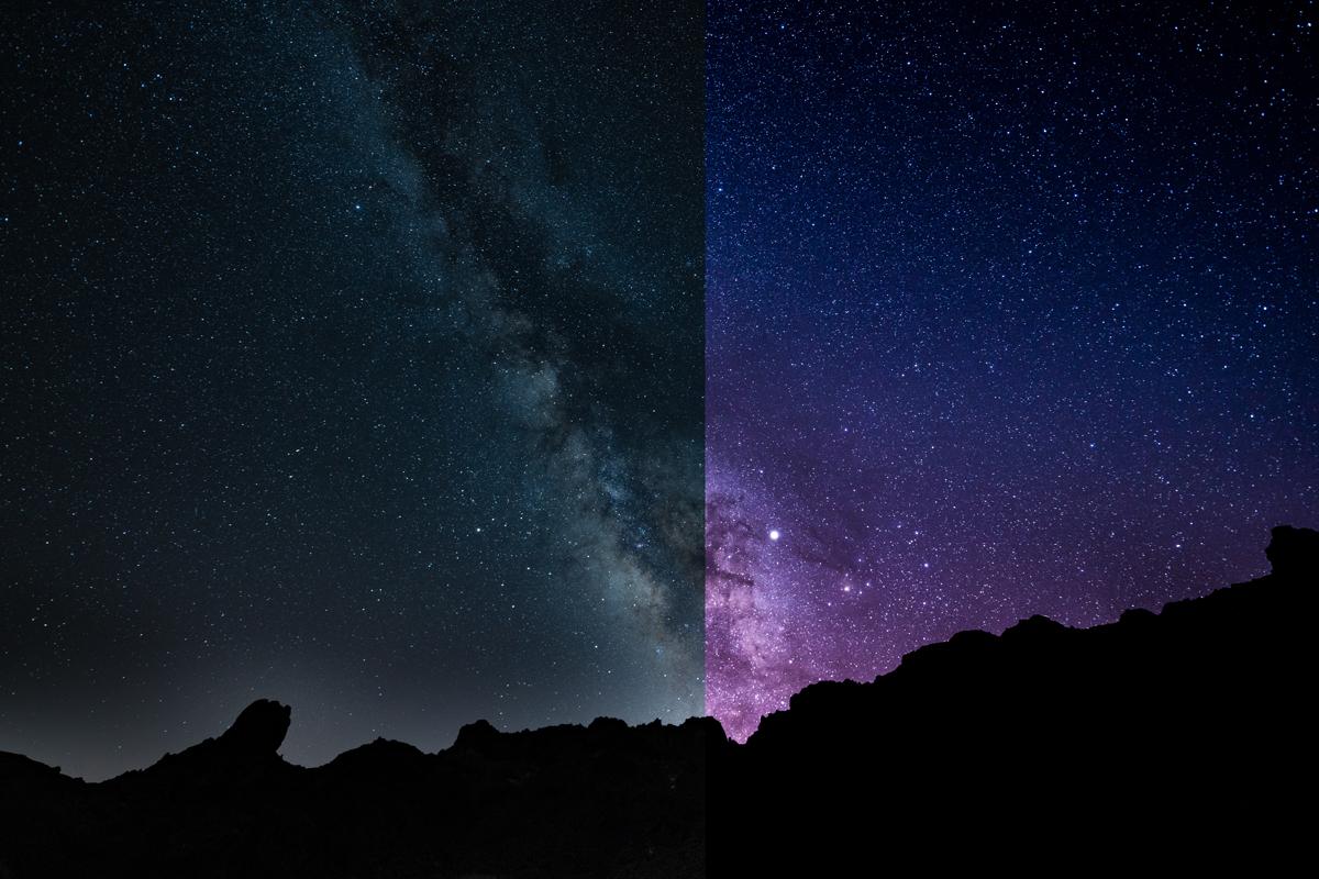 Milchstraße fotografieren vorher nachher
