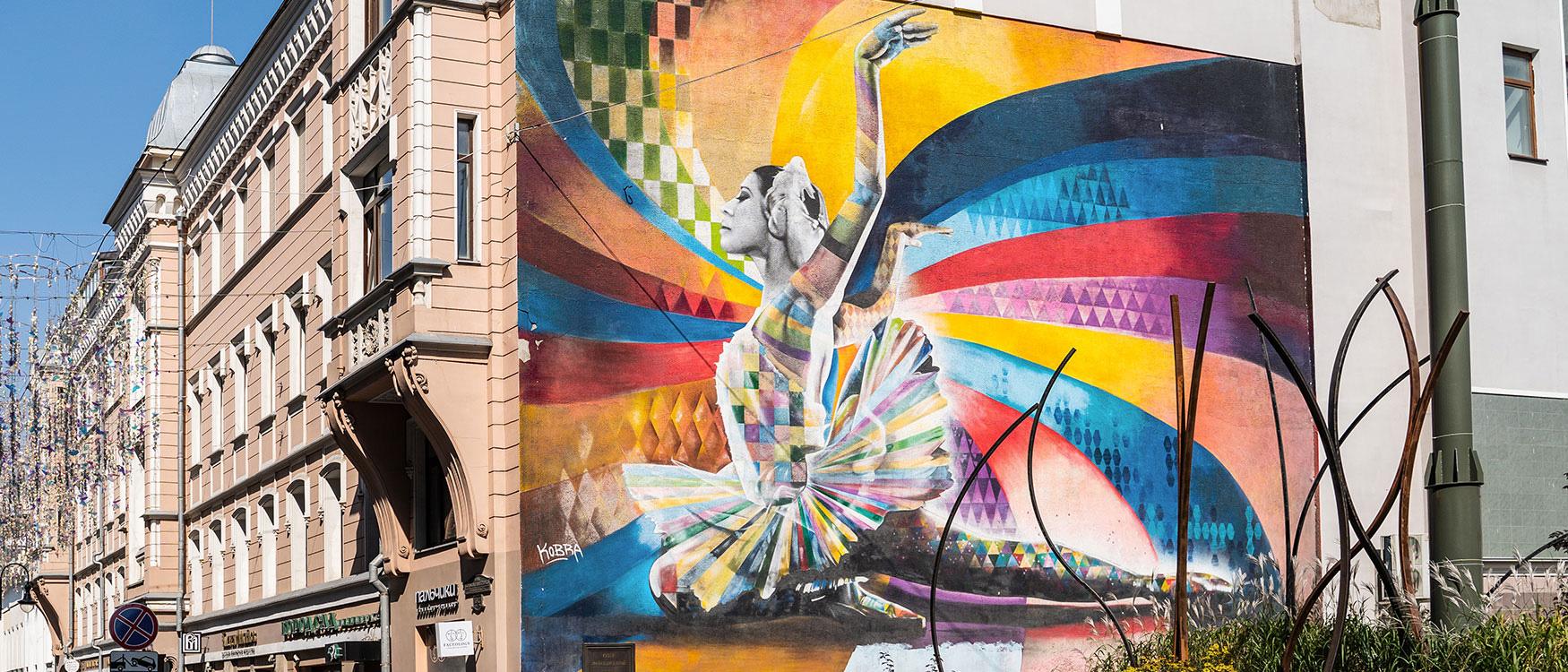 Street Art in Moskau Ballerina