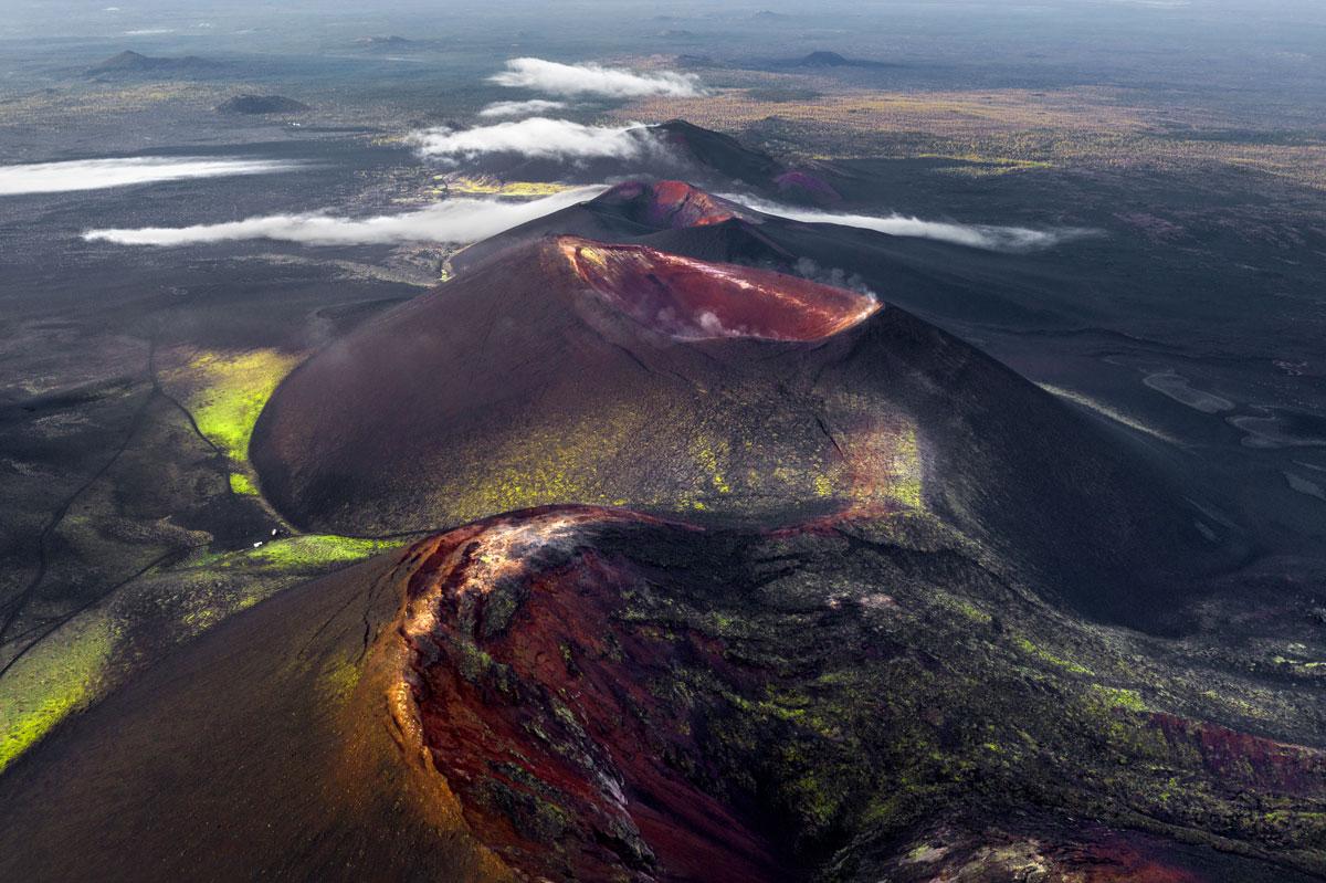 Aktiver Vulkan Sonnenaufgang Kamtschatka