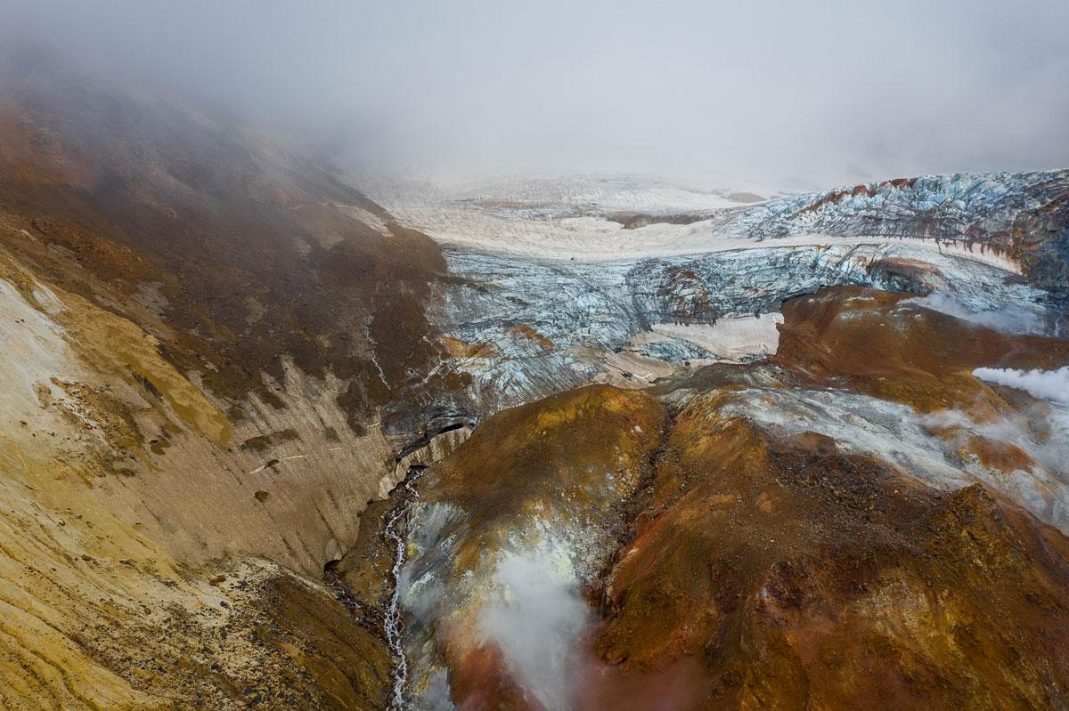 Mutnovsky Vulkan mit Gletscher