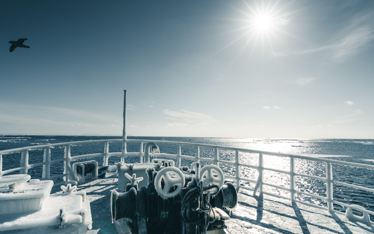 Eisschicht Schiff Spitzbergen