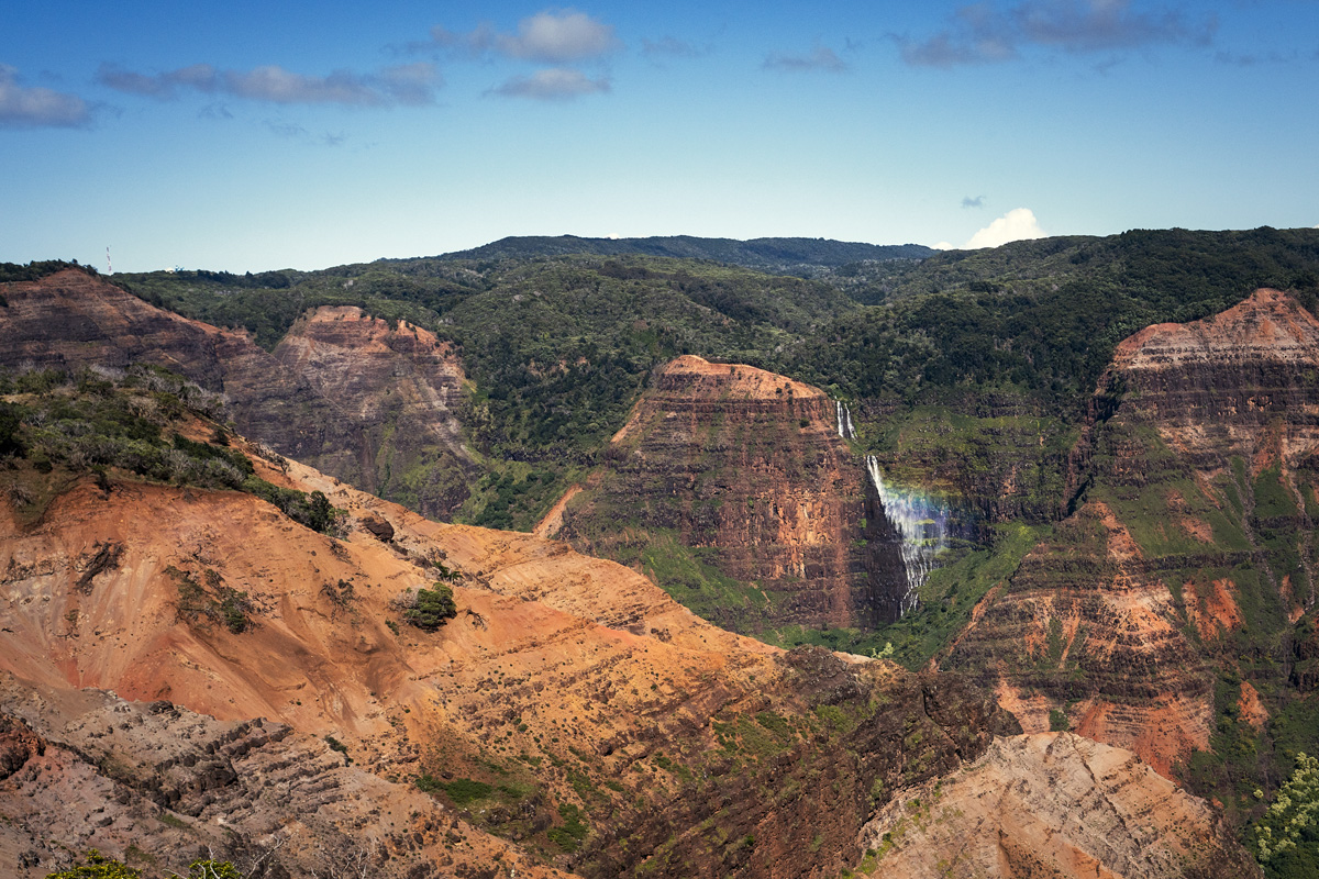 Wasserfall Waimea Canyon Regenbogen Kauai Island
