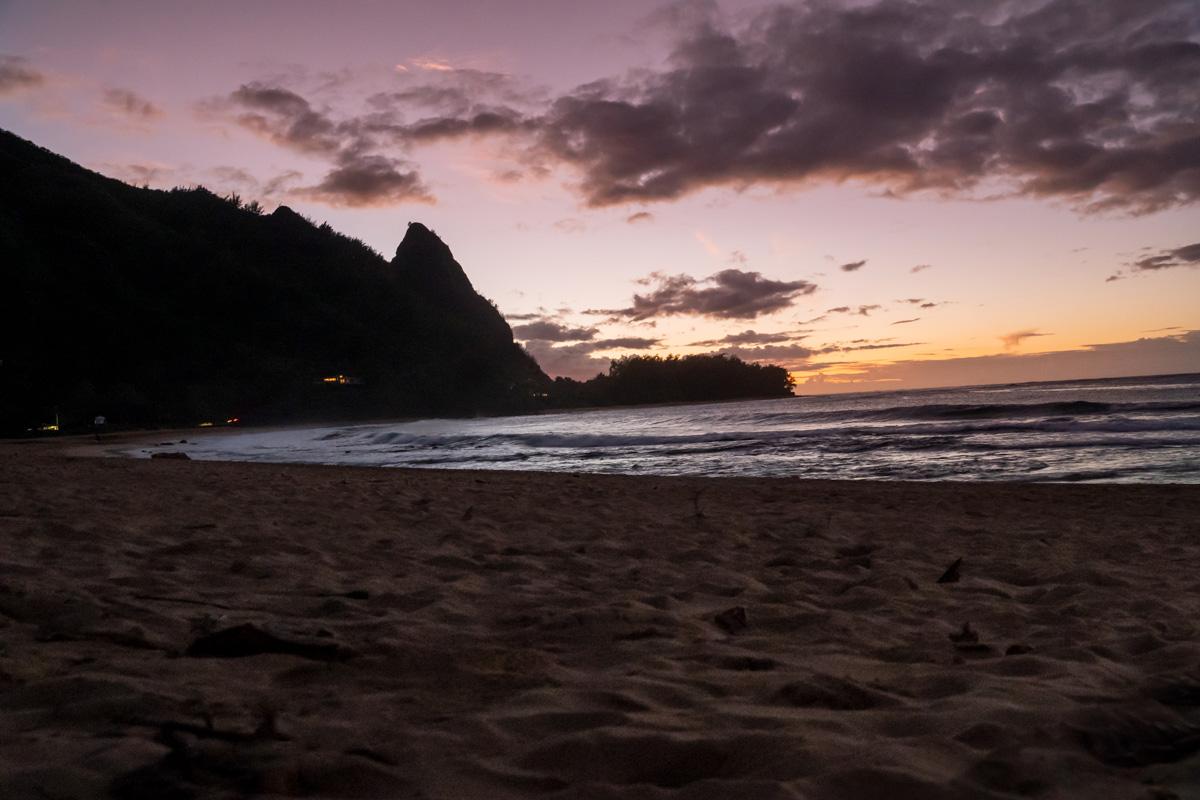 Sonnenuntergang am Tunnel Beach