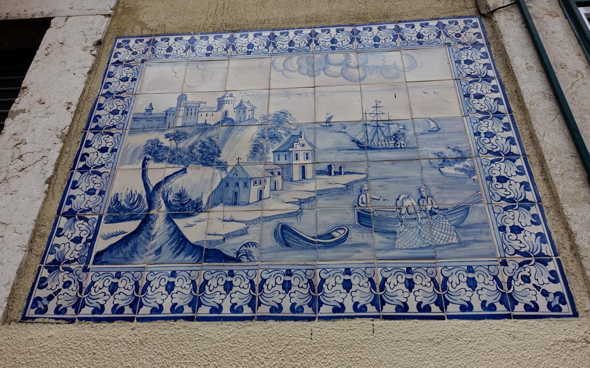 Malerei auf Fliesen in Lissabon