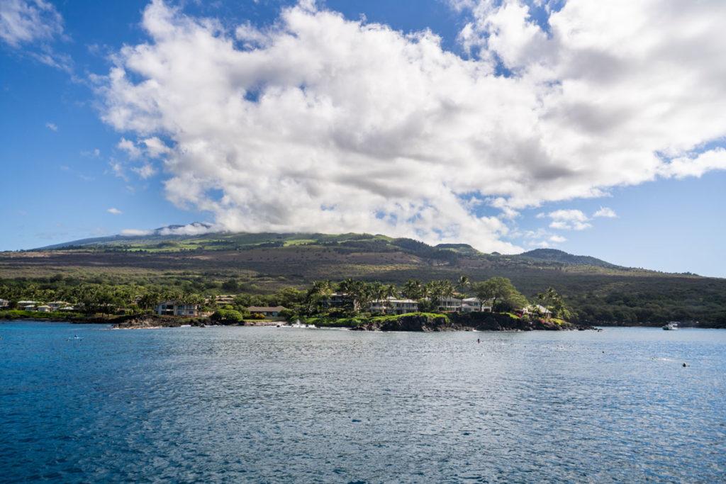 Maluaka Beach, bekannt als Turtle Town. Vom Wasser aus bei der Schnorchel Tour.