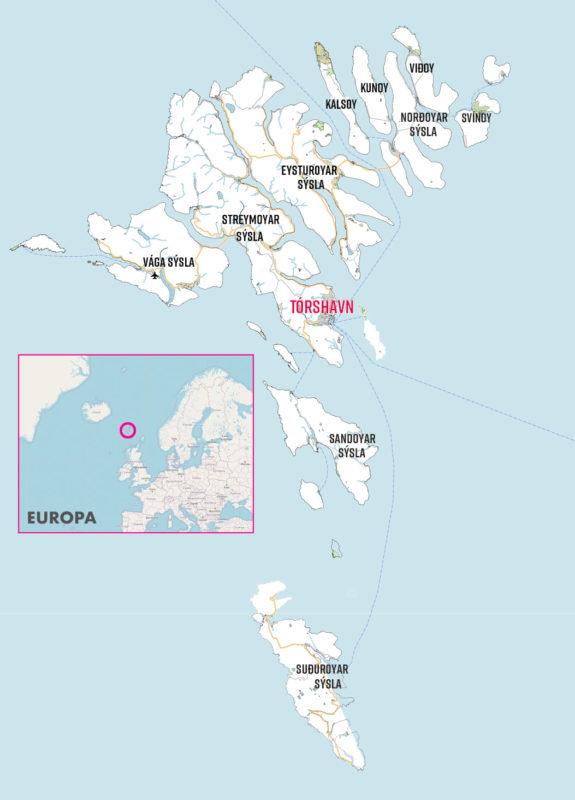 Karte der Färöer Inseln und Lage in Europa.