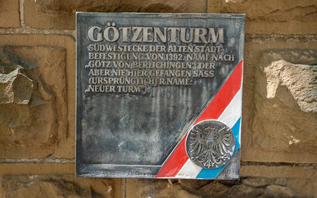 Götzenturm Heilbronn Schild Eingang
