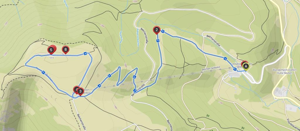 Karte zur Belchen Gipfel-Wanderung Schwarzwald