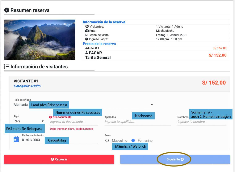 Machu Picchu Ticket Daten eingeben