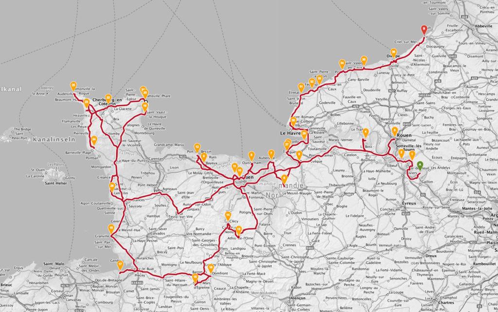 Route Normandie Roadtrip mit dem Wohnmobil bzw. Kastenwagen