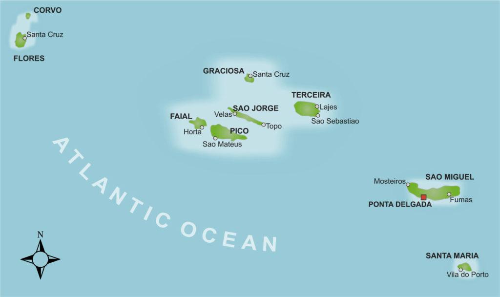 Karte der Azoreninseln, die zu Portugal gehören.
