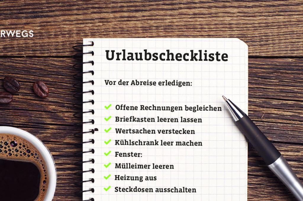 Checkliste vor der Reise erledigen