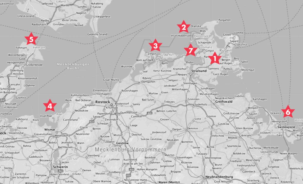 Karte der deutschen Ostseeinseln.