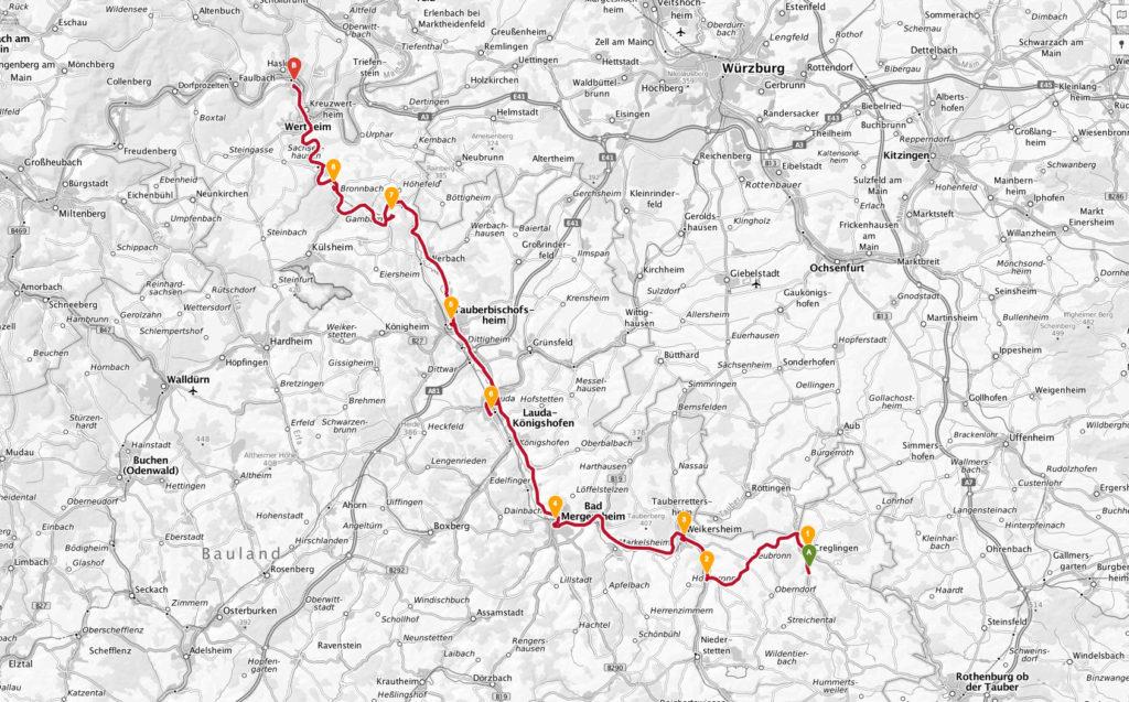 Route durchs Liebliche Taubertal von Creglingen bis Wertheim